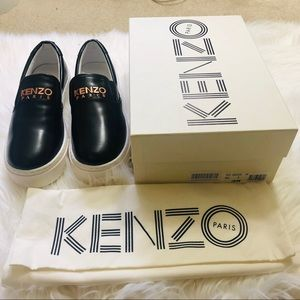 Brand New Kenzo Platform Leather Slip on Sneakers